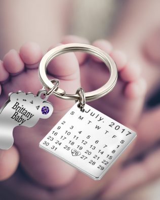 Personalized Newborn Baby Feet Keychain