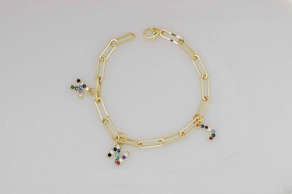 initial personalized birthstone bracelet