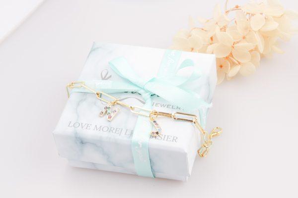 initial birthstones personalized bracelet