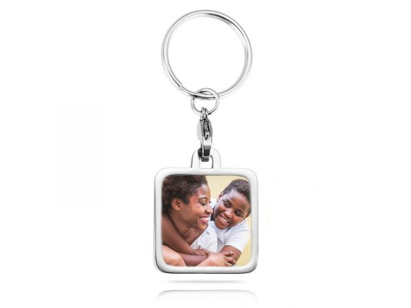 personalized square photo keychain