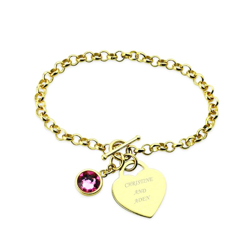 birthstone name bracelet 18k gold plated engrave your name on it